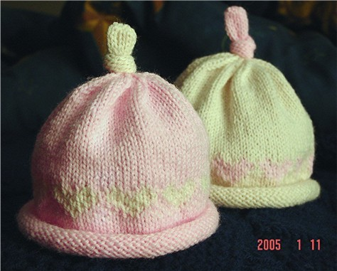 Rolled Brim Baby Hat with a Topknot
