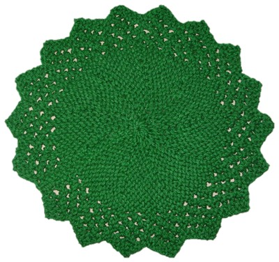Green Lacy Round Face Cloth