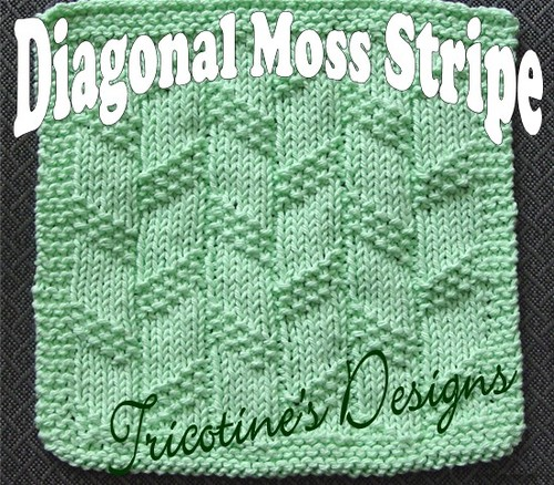 Diagonal Moss Strip Washcloth