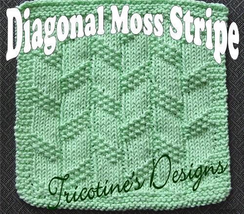 Diagonal Moss Strip Washcloth